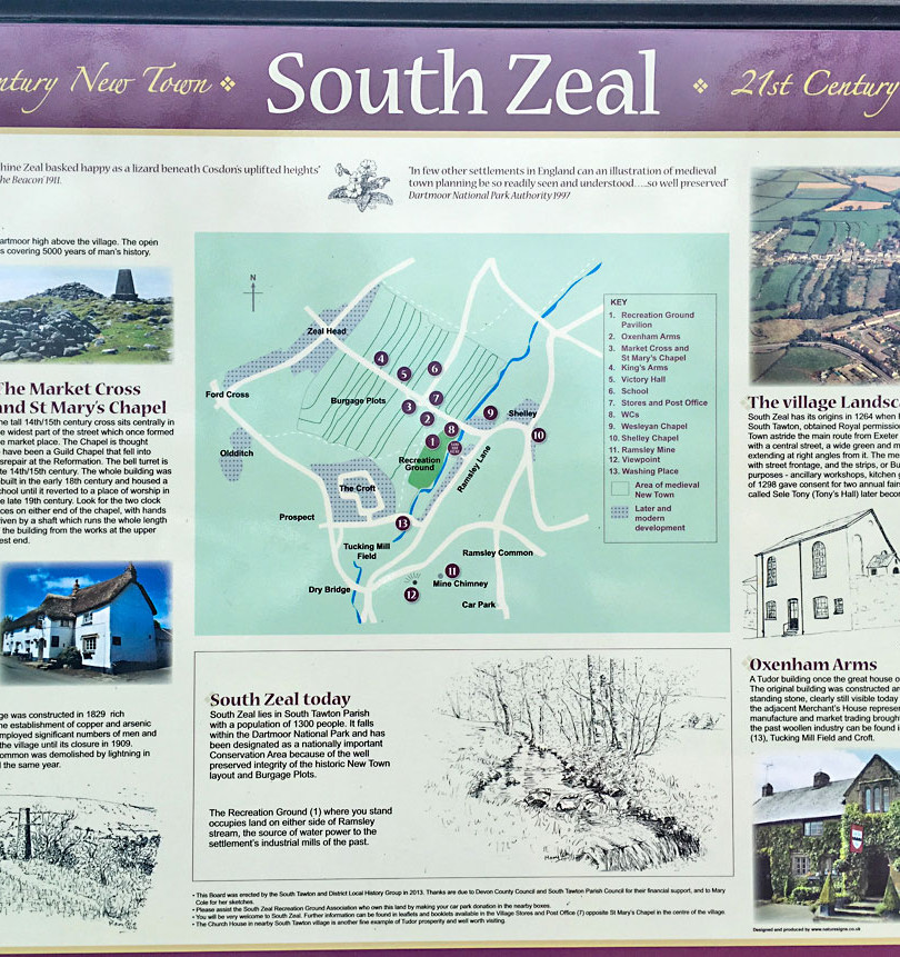 South Zeal is a village of historical interest and this information board can be found in the public car park.