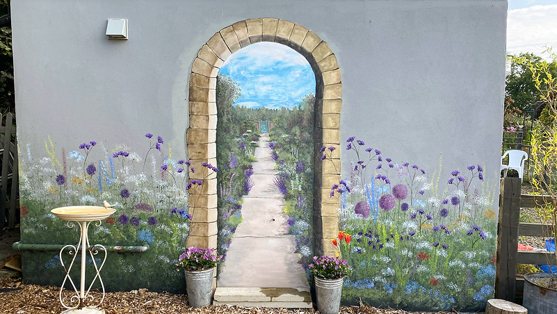 This mural 'appeared' on the side of the Potting Shed during lockdown. Looking forward to better days ahead perhaps...