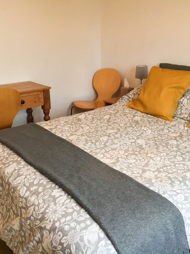 The double room is light and airy with tea and coffee making facilities.
