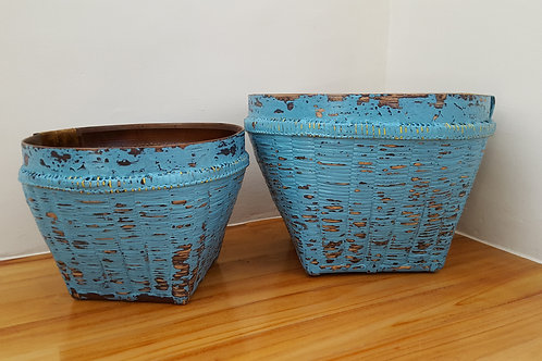 "Bamboo Basket ""Antique"" Finished - Light Blue"