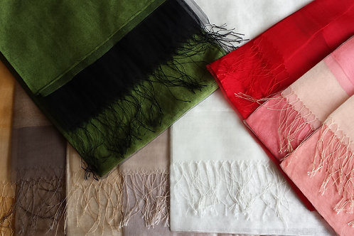 Silk Scarf with Tassel 70W x 175L cm