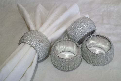 Beads Napking Rings Set-of-4 - Silver