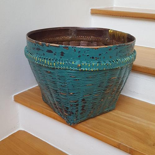 "Bamboo Basket ""Antique"" Finished - Dark Green"