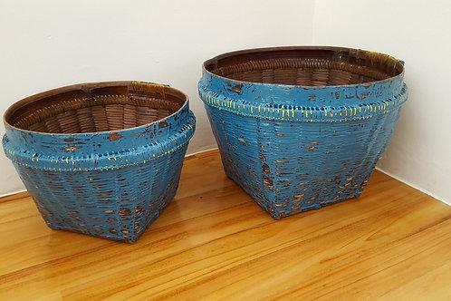 "Bamboo Basket ""Antique"" Finished - Blue"
