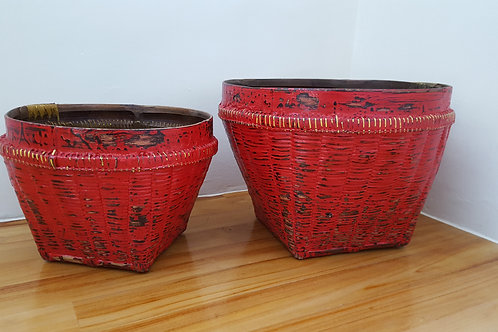"""Bamboo Basket """"Antique"""" Finished - Red"""