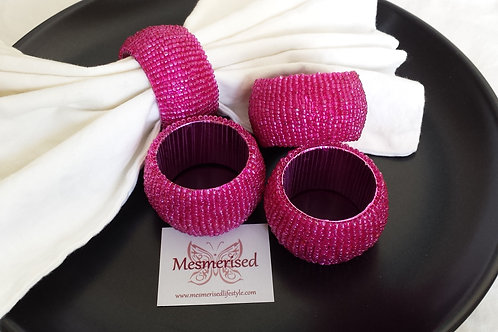 Beads Napkin Rings Set-of-4 - Pink
