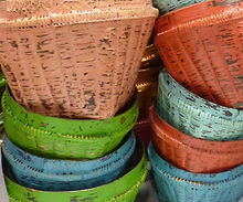 Antique Finished Bamboo Baskets