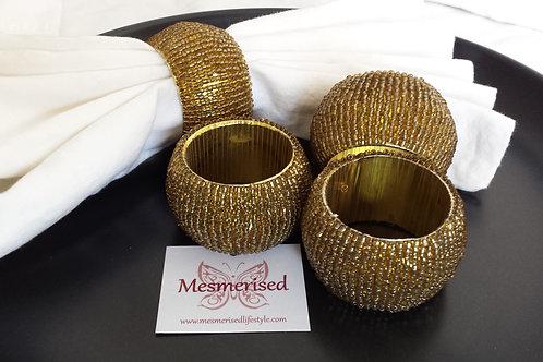 Beads Napkin Ring Set-of-4 - Gold
