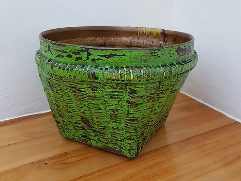 "Bamboo Basket ""Antique"" Finished - Lime Green"
