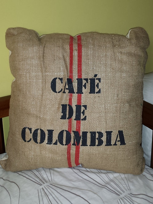 Burlap Cushion - Cafe De Clolombia