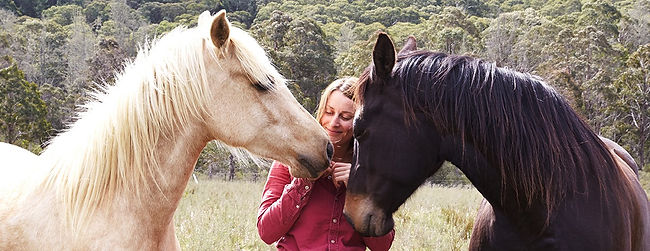 Julie Bechu with her horses