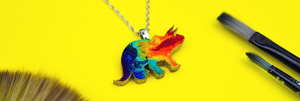 Rainbow Triceratops Necklace, Unique Painted Pendant