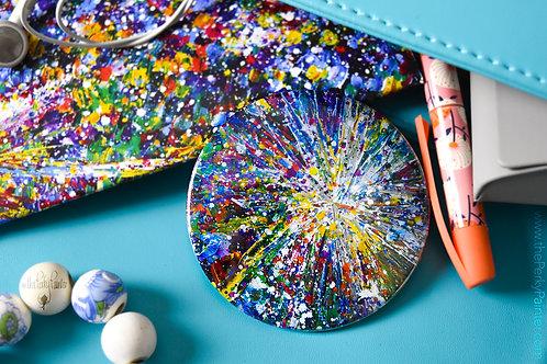 Dandelion Art Pocket Mirror + Free Small Cotton Drawstring Bag