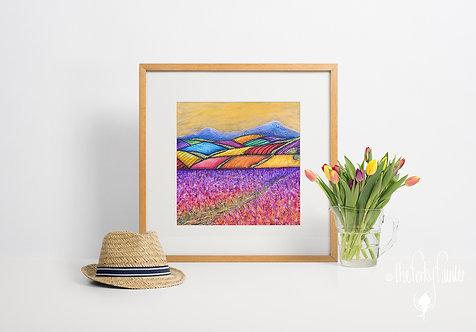 'Rainbow Farms at Dusk' Giclee Fine Art Print 40x40cm