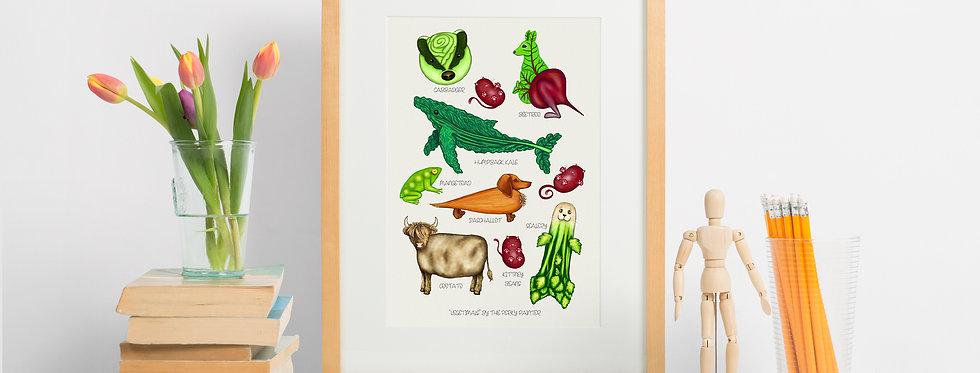 Vegetimals Giclee Print (A4) Humpback Kale & friends