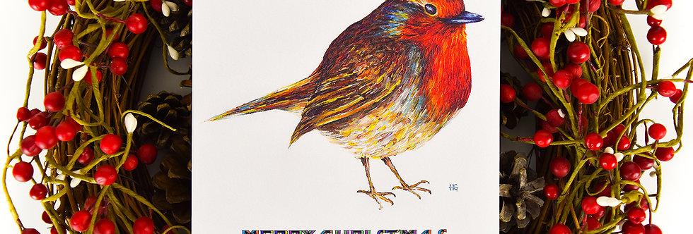 Rambunctious Robin Square Christmas Card
