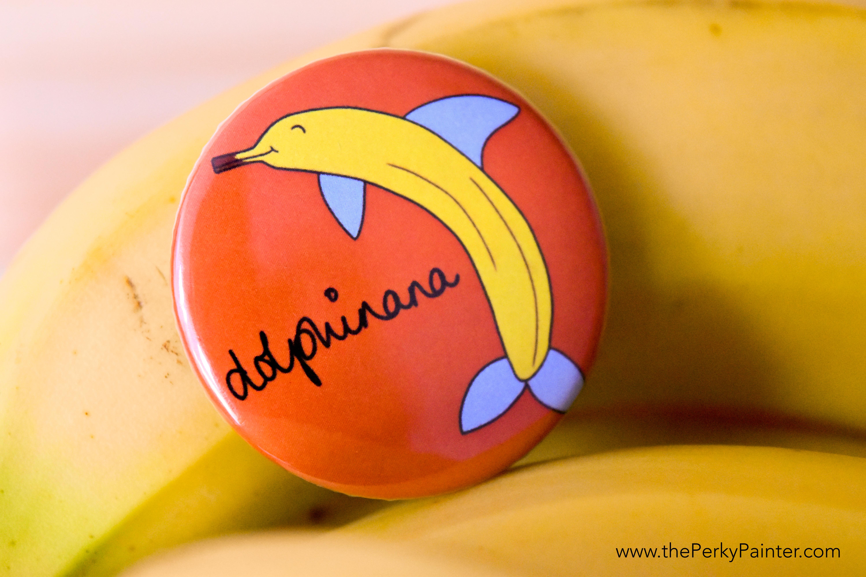www.thePerkyPainter.com Fruinimal Fridge Magnet dolphinana
