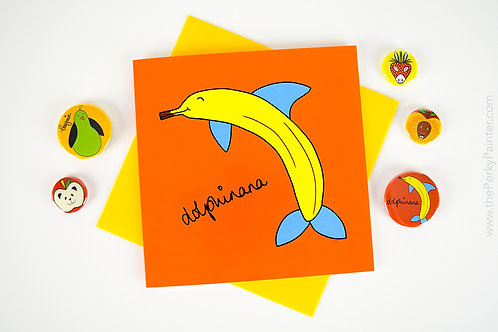 Dolphinana Blank Greeting Card