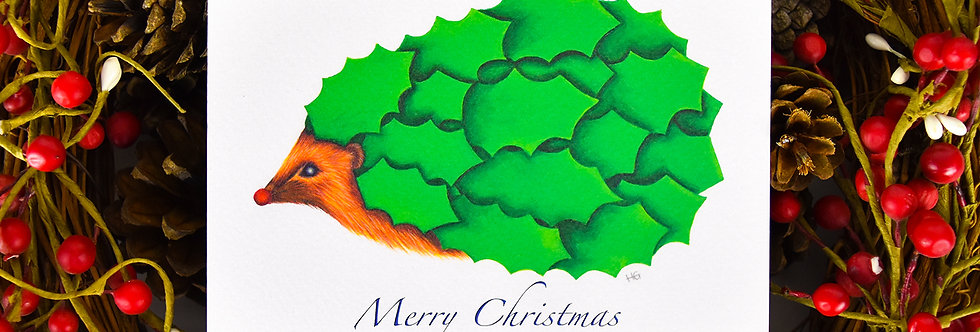 Holly Hedge Hog Christmas Card