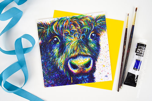 'Disheveled Beltie' Cow Blank Greeting Card