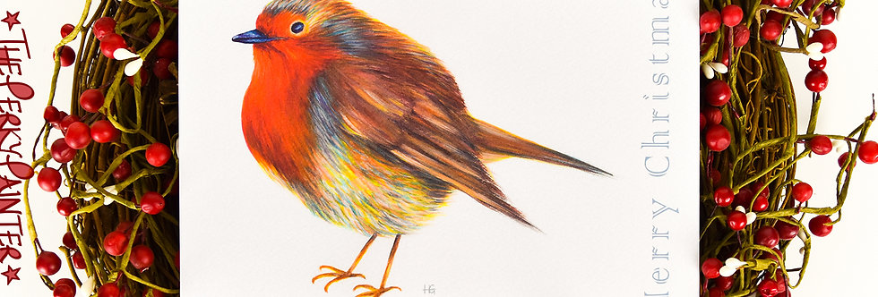 Radiant Robin Large Christmas Card