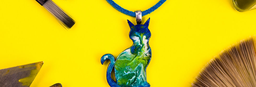 Green Marbled Cat Necklace, Unique Painted Kitty Pendant