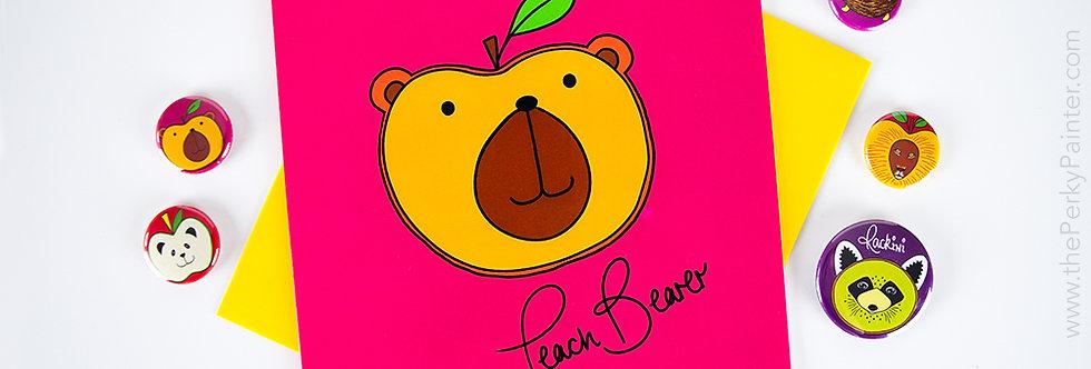 Peach Bearer Blank Greeting Card