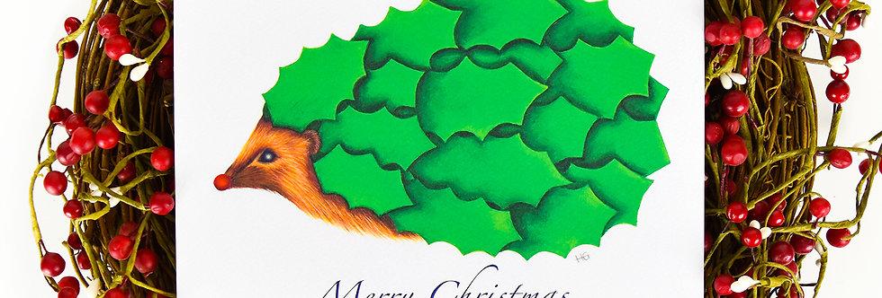 Holly Hedge Hog Large Christmas Card