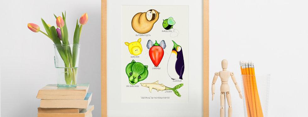Vegetimals Giclee Print (A4) ButternutSloth & friends