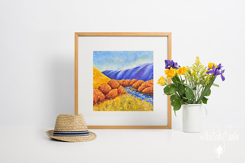 'Rugged, Blue and Yellow' Giclee Fine Art Print 40x40cm
