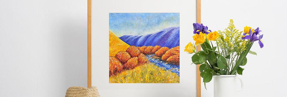 'Rugged, Blue and Yellow' Giclee Fine Art Print 40x40cm