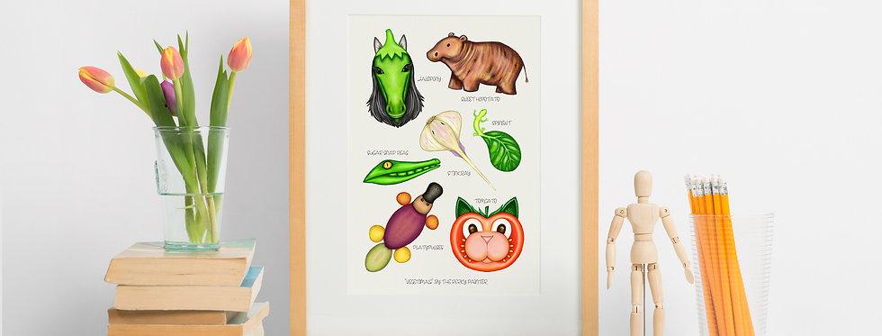 Vegetimals Giclee Print (A4) Tomcato & friends