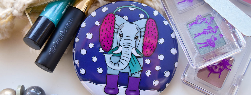 Elephant Pocket Mirror + Free Small Cotton Drawstring Bag