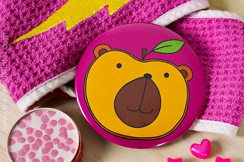 Peach Bearer Fruinimal Pocket Mirror + Free Small Cotton Drawstring Bag