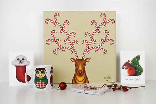 Canedeer Christmas Canvas Art