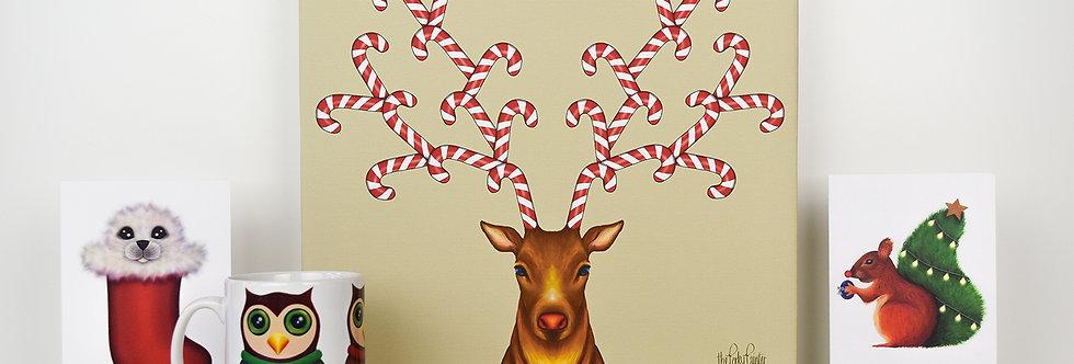 Canedeer Christmas Canvas Art