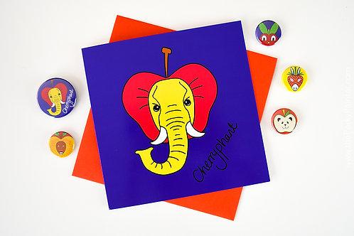 Cherryphant Blank Greeting Card