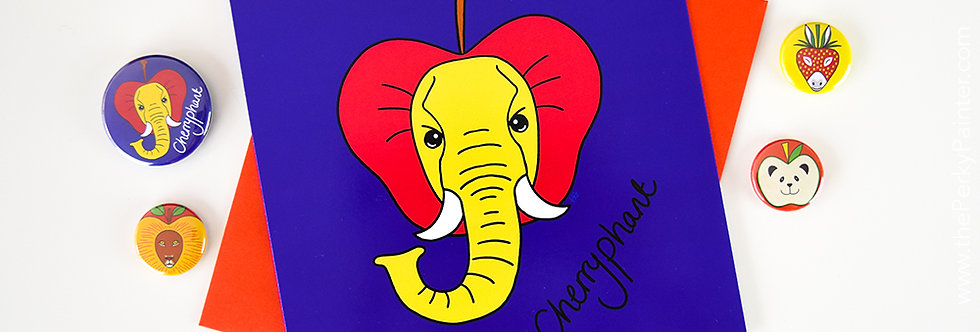 Cherryphant Blank Greeting Card