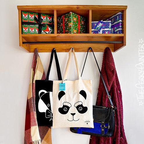 Christmas Panda Screen Printed Tote Bag