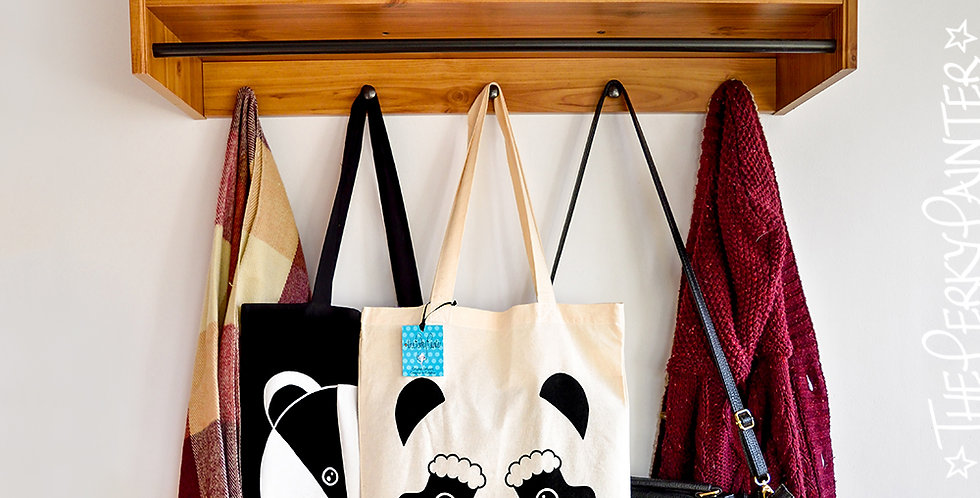 Christmas Panda Screen Printed Tote Bag