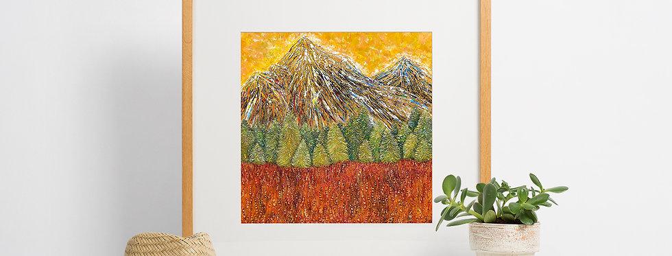 'Alpine Sunrise' Giclee Fine Art Print 40x40cm
