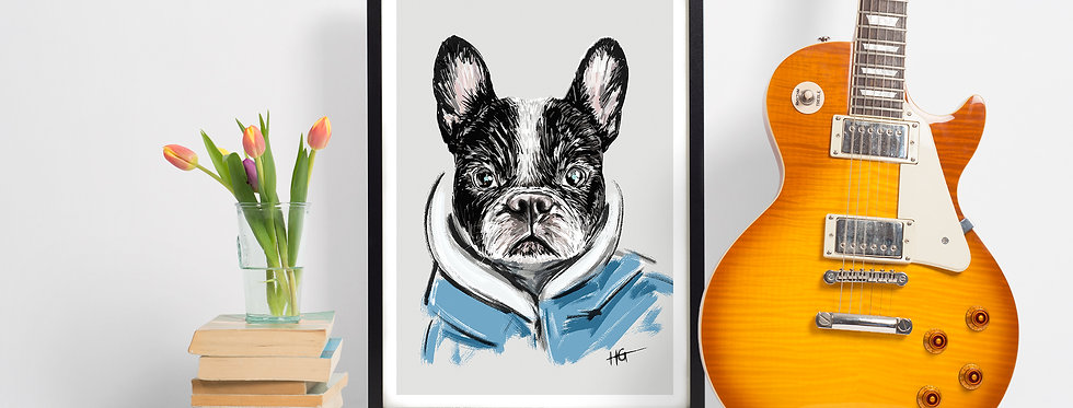 Boston Terrier Giclee Print (A4)