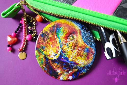 Labrador Puppy Pocket Mirror + Free Small Cotton Drawstring Bag