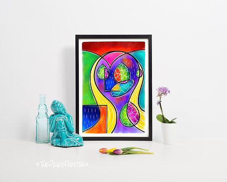 'It's OK' Face Abstract Giclee Print (A4)