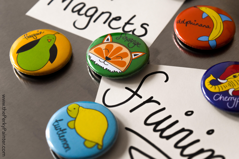 www.thePerkyPainter.com Fruinimal Fridge Magnets on board 2