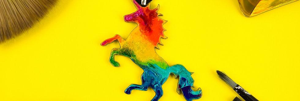 Rainbow Unicorn Necklace, Unique Painted Pendant