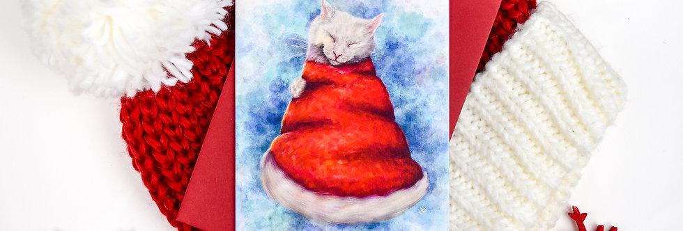 Santa Claws Hat Christmas Card
