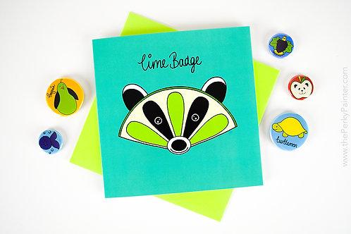 Lime Badge Blank Greeting Card