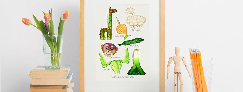 Vegetimals Giclee Print (A4) Caulillama & friends