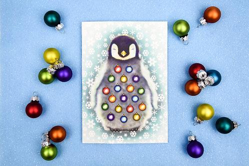 Waddling Around the Christmas Tree Christmas Card